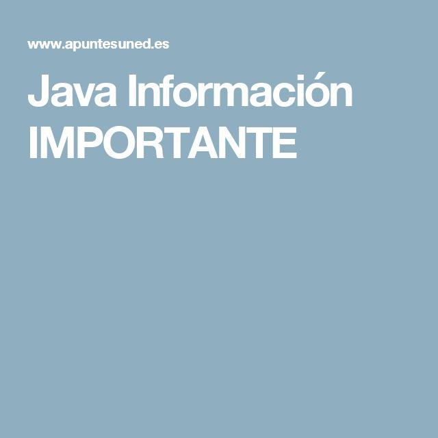 Java Información IMPORTANTE
