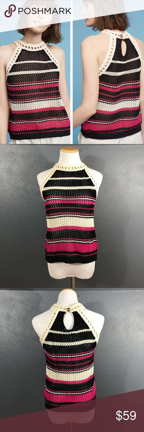 """Anthropologie Striped Knit Tank Top Anthropologie Ravella Striped Knit Tank Top by John + Jean. Crochet knit top. Sleeveless. Burron closure on nape. Cool layered over a long sleeve tee or layer with your favorite jacket or cardigan. Cotton, acrylic, nylon blend. Crea/white, pink, and black. New with tags.  Size XS. A14  Underarm to underarm 17"""" Length 22"""" Anthropologie Tops Tank Tops"""