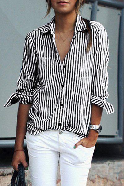 stripe collared shirt + white jeans