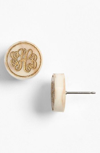 LOVE! BHG :)  Moon and Lola 'Chelsea' Small Personalized Monogram Stud Earrings (Nordstrom Exclusive) available at #Nordstrom