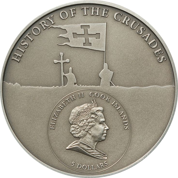 2010 Cook Islands 25 gr $5 silver coin - History of The Crusades: Fourth Crusade, Dandolo of Venice (antique finish).