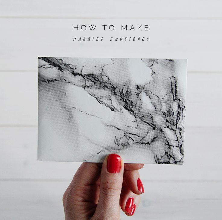 Fall For DIY How to Make Marbled Envelopes  http://fallfordiy.com/blog/2014/08/24/how-to-make-marbled-contact-paper-envelopes/