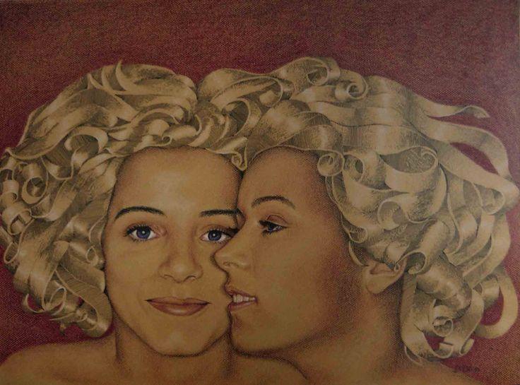 Pastel seco e tinta da china s/ papel by Duda Correia