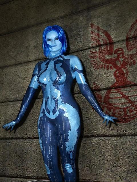Cortana cosplay body paint
