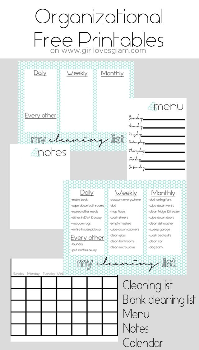 #Organizational Free Printables including #cleaning list, blank cleaning list, menu, notes and #calendar.