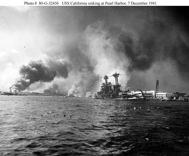 USS California sinking at Pearl Harbor, December 7, 1941.