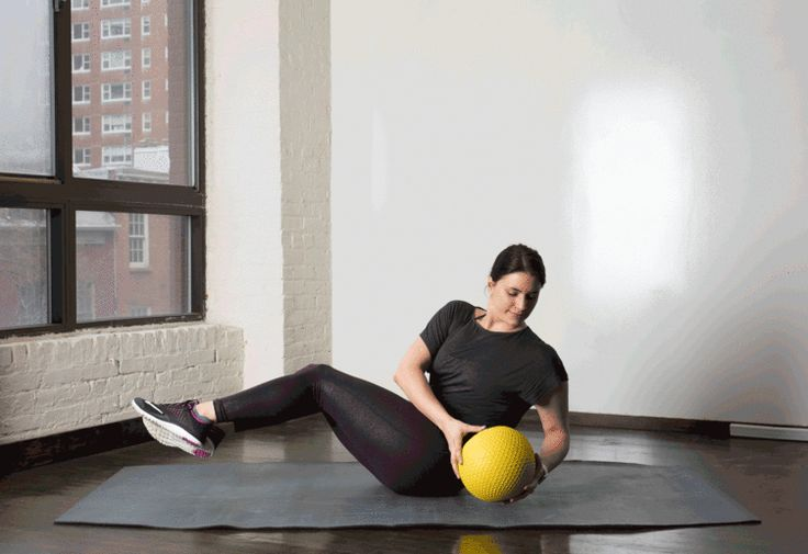 8. Med Ball Twist #medicineball #abs #workout http://greatist.com/move/core-exercises-medicine-ball?utm_source=Sailthru&utm_medium=email&utm_content=story3_title&utm_campaign=daily_newsletter_2016-02-29_mails_daily_new_header?utm_source=pinterest&utm_medium=social&utm_campaign=onsiteshare You're gonna have a ball with these.