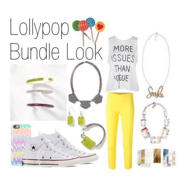 For #SaturdayStyle we still want to believe it's summer! So throw on the Lollypop Bundle and show off that pop of color!