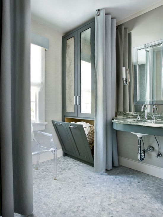 SallyL: Mark Williams Design - Glam bathroom with gray custom cabinets hamper with antique ...