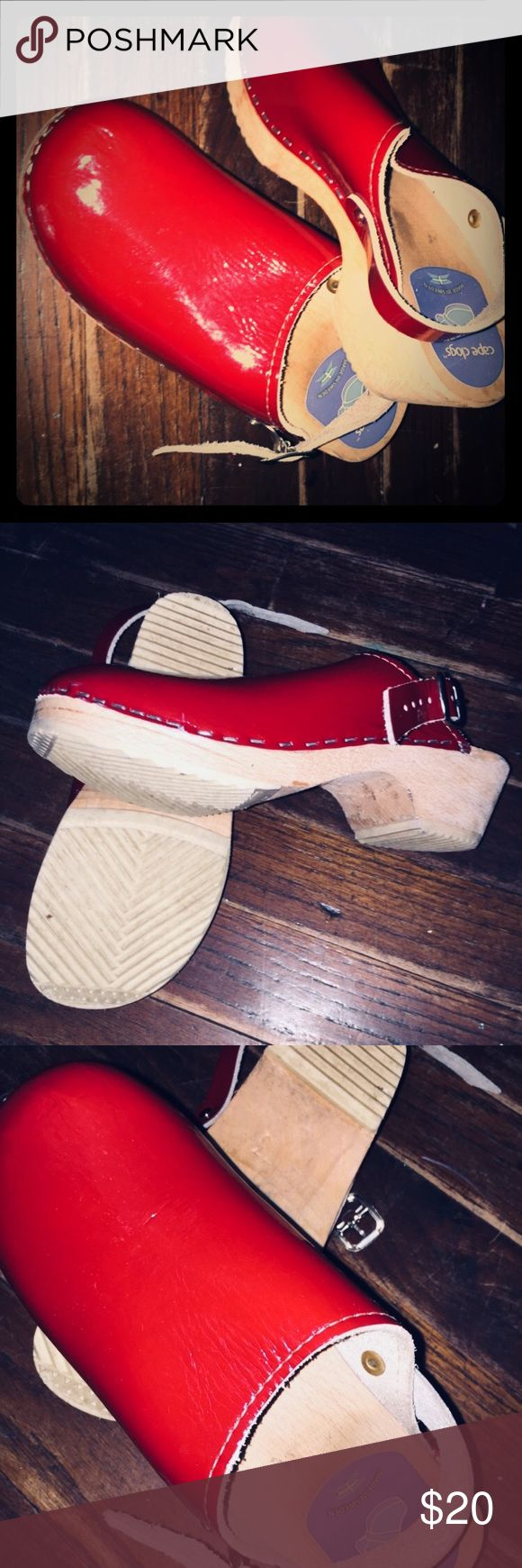 kelly's kids clogs red shiny leather clogs with buckles. Used size 33 girls. wear with or without buckle. I don't think either of my girls ever wore them outside. boutique kellys kids Shoes