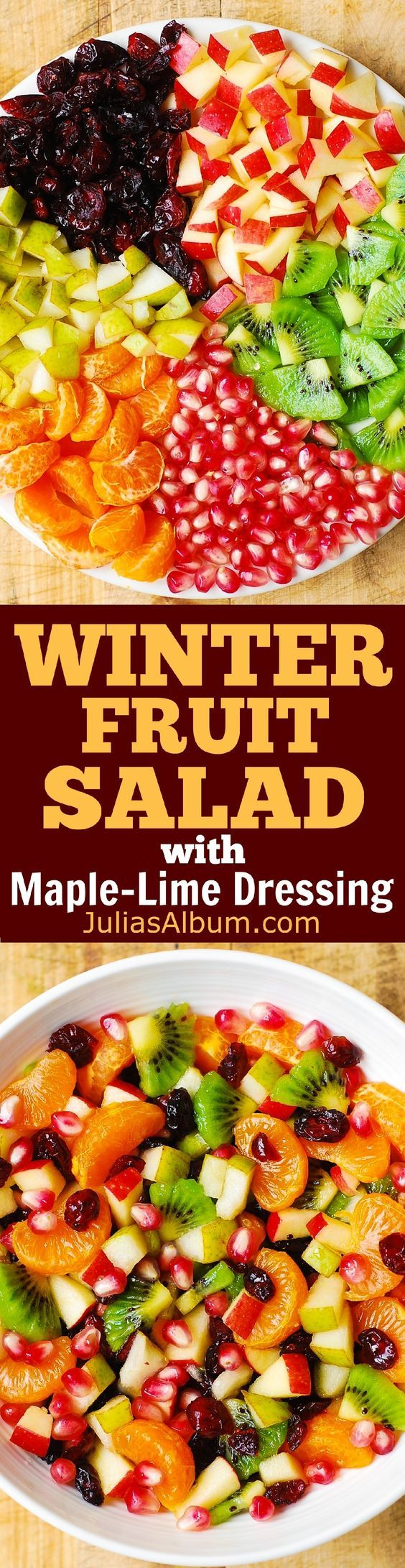 Winter Fruit Salad with Maple-Lime Dressing - healthy gluten free salad!Winter Fruit Salad with Maple-Lime Dressing - healthy gluten free salad!