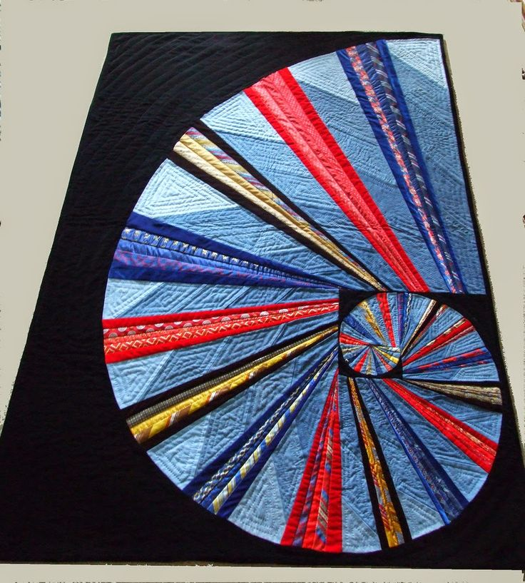 Necktie quilts for Dad - uses the Golden Mean formula to create the Fibonacci spiral