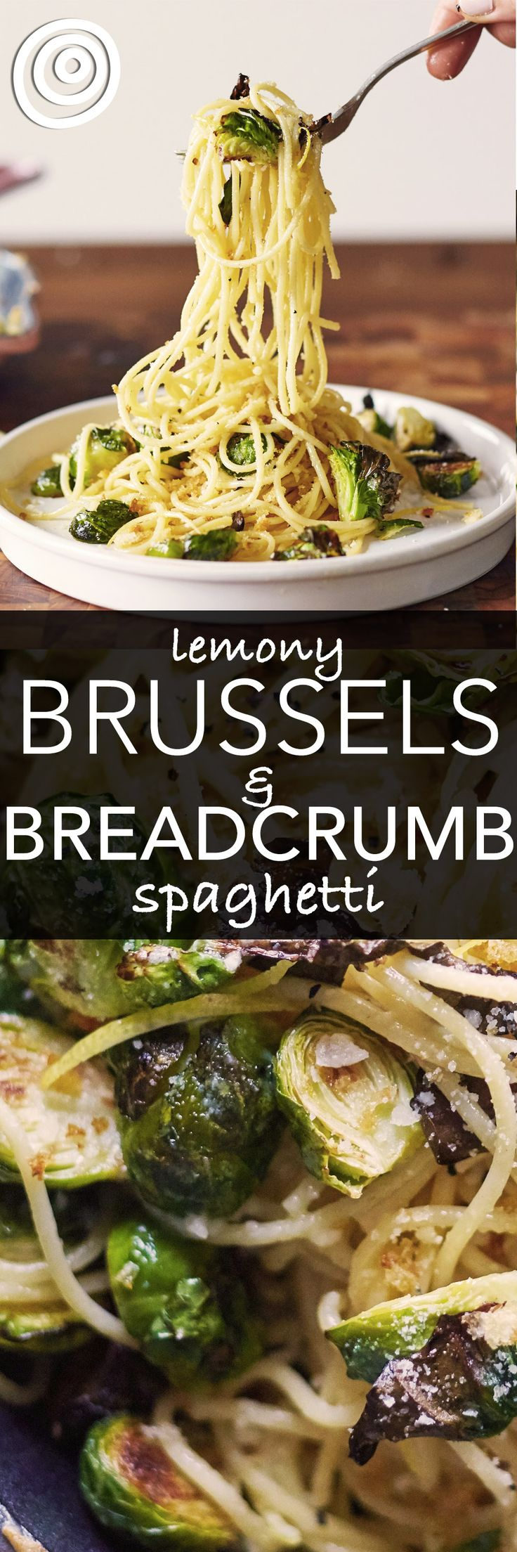 Lemon Brussels Sprouts and Breadcrumb Spaghetti Pasta Recipe. This EASY recipe is one of those recipes that takes advantage of leftovers -- roasted brussel sprouts in this case. Make this quick, easy, CHEAP weeknight meal ASAP! You'll need breadcrumbs, spaghetti, lemons, brussels sprouts, garlic, white wine, parmesan cheese.