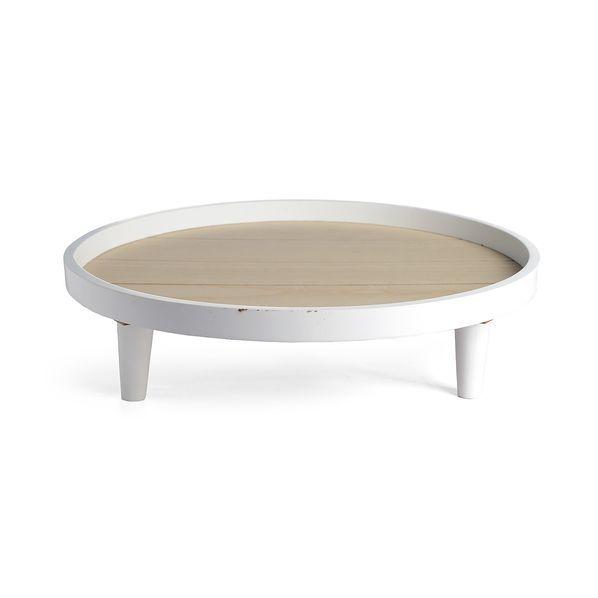 Decotable on foot, D: 40xH: 11cm, white, white