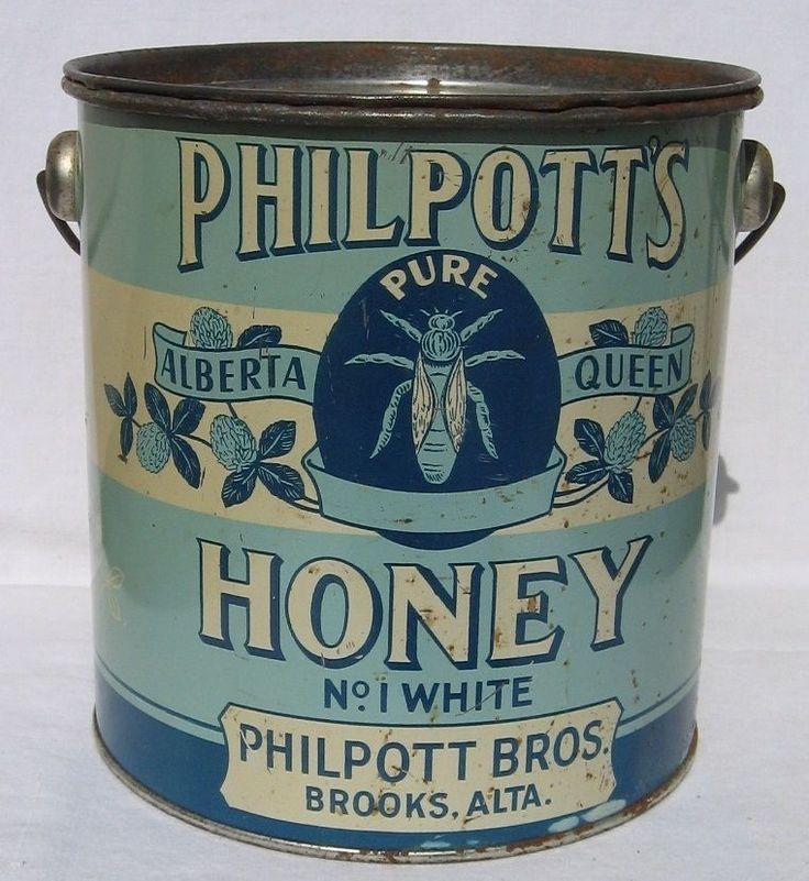 VINTAGE PHILPOTT'S 8 LB. HONEY TIN, PHILPOTT BROS., BROOKS, ALBERTA $36