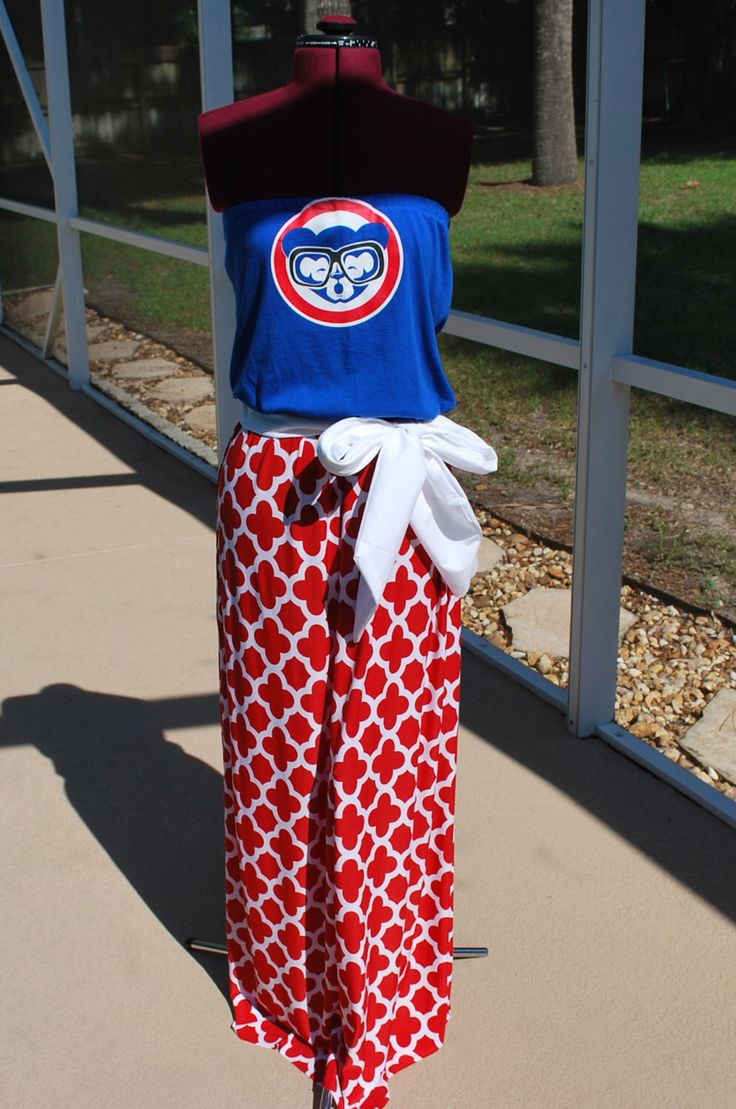 Chicago Cubs Baseball MLB Strapless Maxi Dress, with Tie Waist Sash made with Upcycled Shirts Size XS, S, M, L, XL by gamedaychicflorida on Etsy https://www.etsy.com/listing/446541044/chicago-cubs-baseball-mlb-strapless-maxi