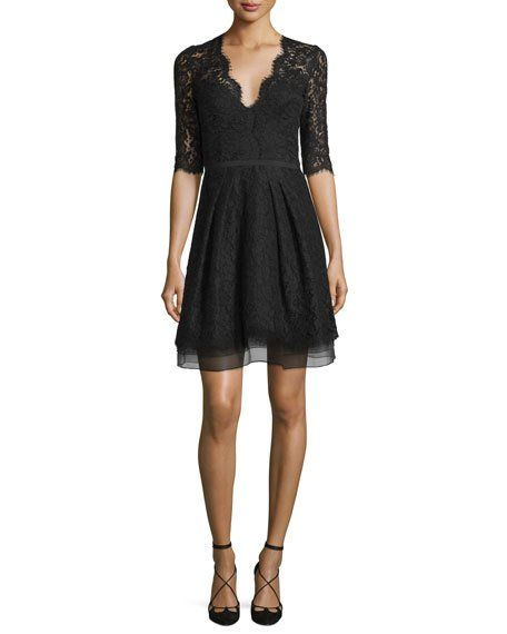 Half-Sleeve V-Neck Lace Cocktail Dress, Black