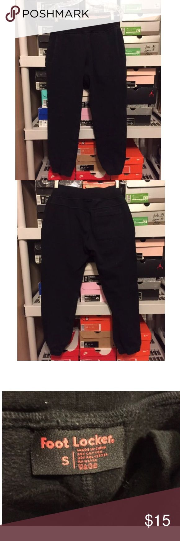 Men's footlocker black sweat pants size Small Men's footlocker black sweatpants   Size Small  Good condition has slight fading!  Waist: 35cm.  Length 91cm. If you have any questions please message me! Thanks! Check out my other items for sale! footlocker Pants Sweatpants & Joggers