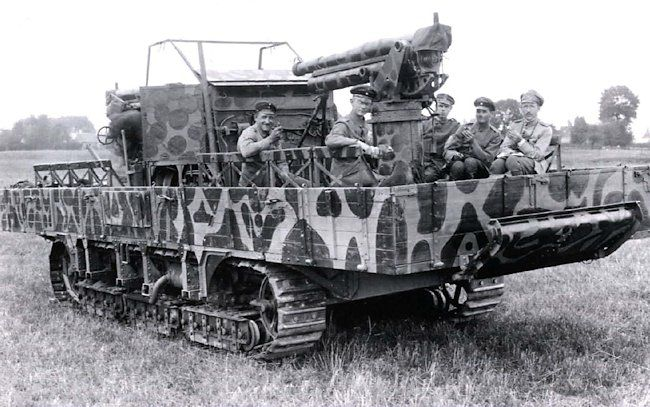 Three A7V tank chassis were used to build Flakpanzers motorised anti aircraft battery prototypes