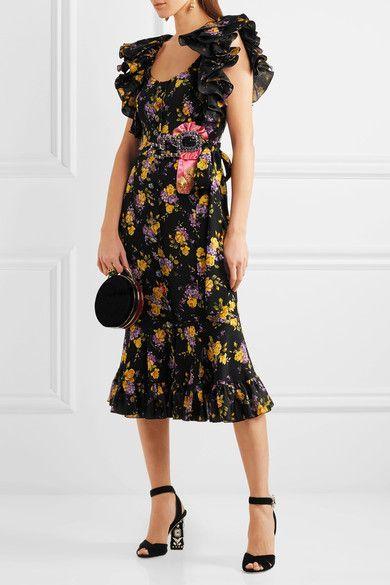 Dolce & Gabbana - Embellished Ruffled Printed Silk-blend Charmeuse Midi Dress - Black - IT42