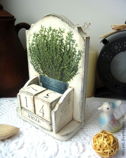 """Вечный календарь """"Rosemary"""" - белый,вечный календарь,винтажный стиль"""