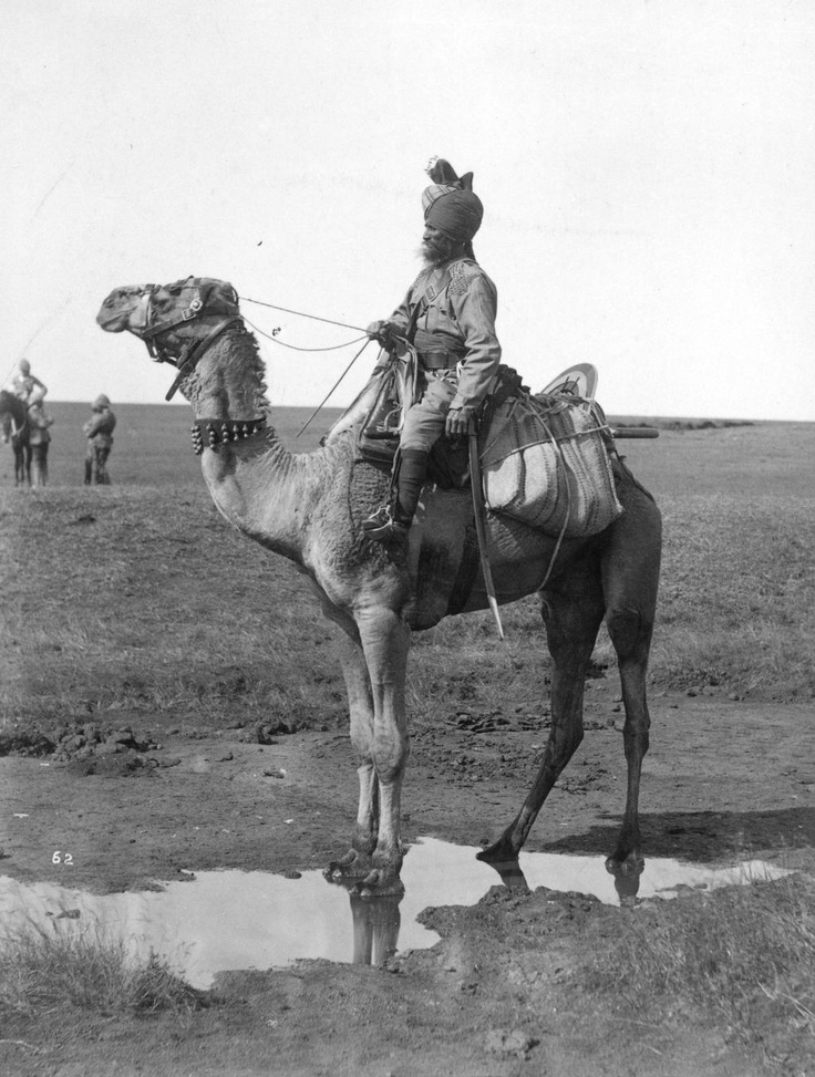 A sepoy (an infantry private in the British East India Company's army) mounted on a camel, circa 1857. One of the Indian soldiers who assisted the British in suppressing the Indian Mutiny 1857/India's First War of Independence.
