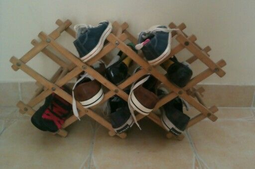 Using a bottle rack as a shoe stand