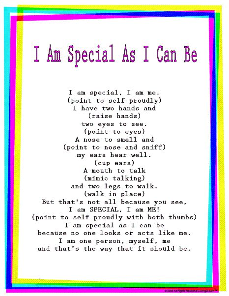 """Kids Rhymes & Songs: """"I Am Special As I Can Be"""": Read & Sing Along Video"""