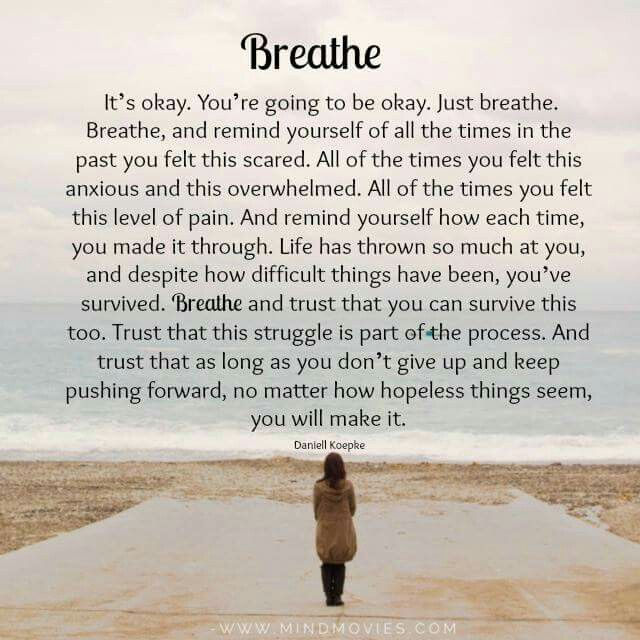 Sometimes I  need to be reminded that life goes on after the sudden loss of my husband. ..thanks for the message I will remember to breathe so that I can survive this grieving process!