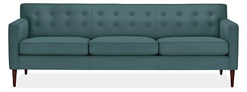 Holmes Custom Sofa Room & Board  89wx85d, fabric vineyard cloud poly velvet $2500