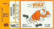 1974 Alabama vs. Tennessee historic football poster made from an authentic '74 Tennessee football ticket. Tennessee football gifts! #gifts