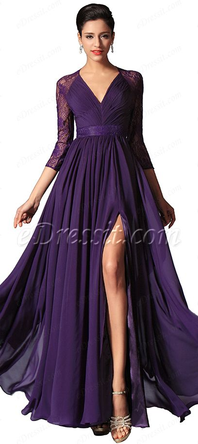 Long sleeves purple formal dress! #edressit #formal dress #fashion
