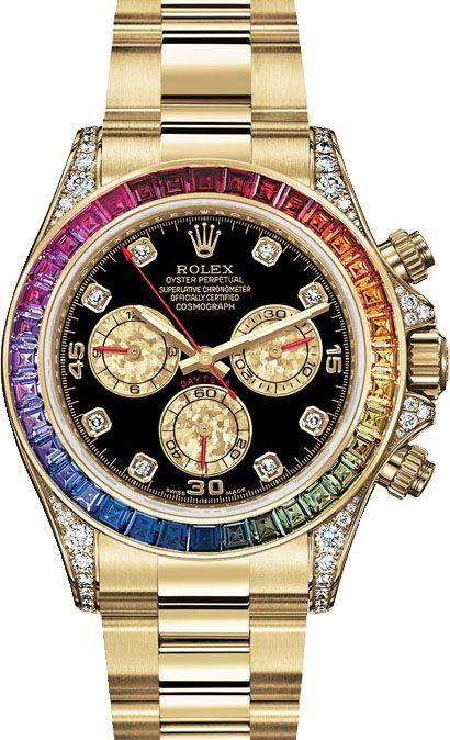 116598 RBOW Rolex Daytona - Ролекс - швейцарские мужские (женские, унисекс) часы наручные, золотые, черные - хронограф