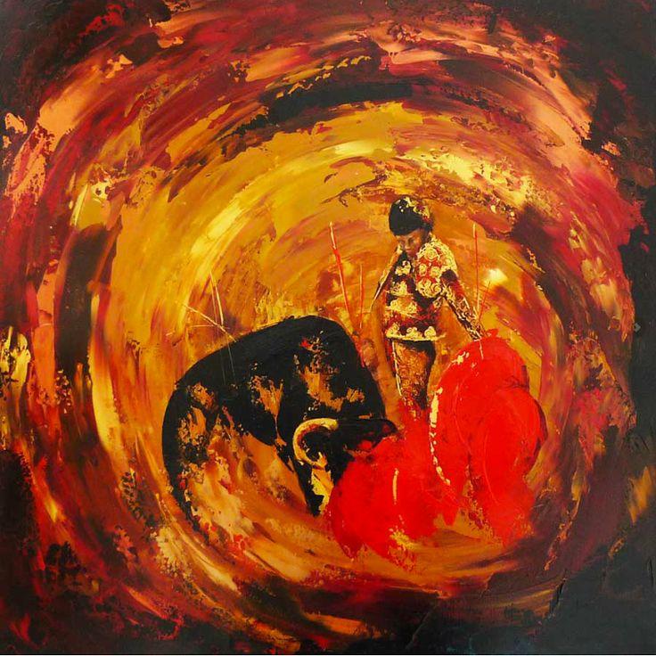 Foto: Bullfight study in bronce. De Sally Huntington Sally Huntington es una pintora inglesa actualmente afincada en Andalucía. Su estilo enormemente expresivo combina pinceladas en colores brillantes y muy contrastados para componer y exaltar una imagen central que protagoniza sus obras. Se pueden ver más obras de ella en este enlace: http://fineartamerica.com/profiles/sally-huntington.html #Toros