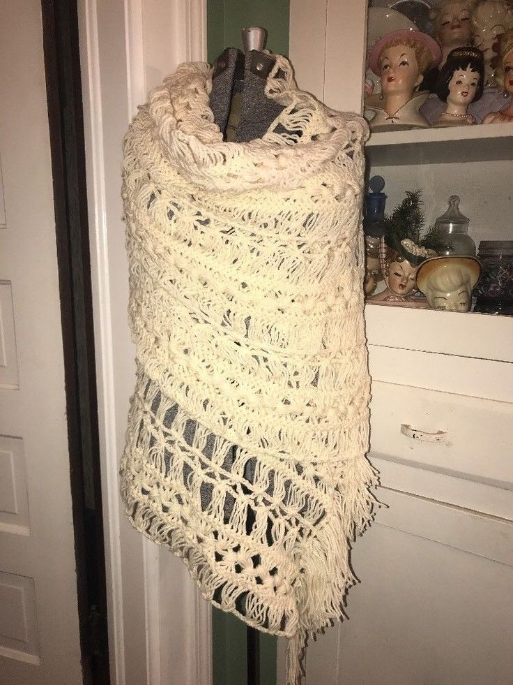 Vintage 1970s Hippy BOHO CHIC Shawl Fringe White Tassel One Size Flower Child  | eBay