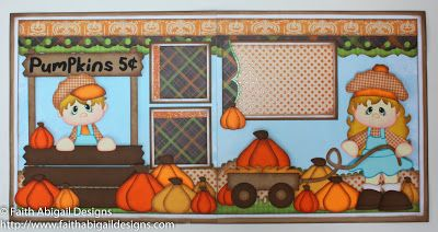 "Faith Abigail Designs - Pumpkins for Sale 12""x12"" Double Page Scrapbook Layout with Video Tutorial - Little Scraps of Heaven Designs"