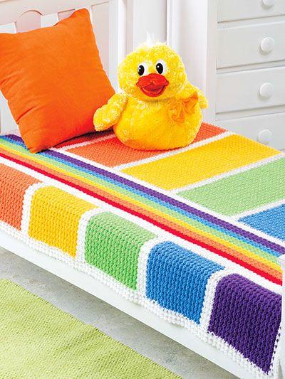 "Crochet - Stash-Buster Baby Blanket - #EC01398 / like the design & the bright colours / 35"" x 50"" x intermediate / CROCHET pattern - purchase"