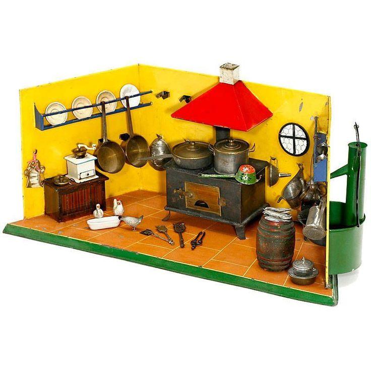 """Spielzeug-Küche """"Rock & Graner"""", um 1880   Hersteller: """"Rock & Graner, Biberach"""", handbemaltes Blec — Spielzeug, Puppe, Puppenstube, Steiff, Blech, Blechspielzeug, Märklin, Eisenbahn, Spur 0, Teddy"""