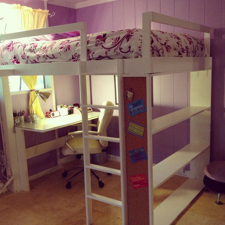 Sweet Purple And White Kids Girls Room Design With Corner Study Space  Underneath Wooden White Loft Bed And Beige Marble Floor Design Also Simple  Window ...