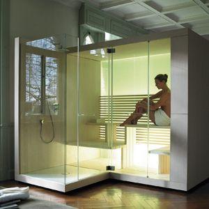 Contemporary sauna and shower combo.    Duravit Inipi Sauna from C.P. Hart