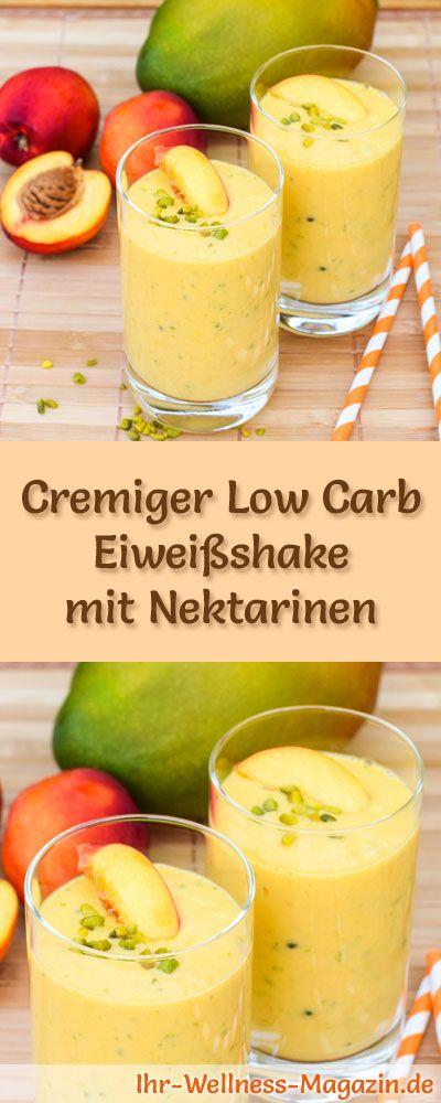 Eiweißshake mit Nektarinen selber machen - ein gesundes Low-Carb-Diät-Rezept für Frühstücks-Smoothies und Proteinshakes zum Abnehmen - ohne Zusatz von Zucker, kalorienarm, gesund ...