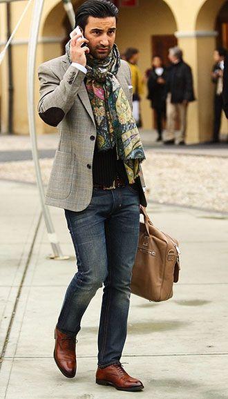 ジャケットに柄ストールが冴えるコーディネート(メンズ) | Italy Web