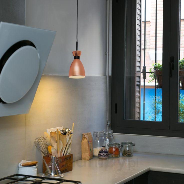 Stylowa lampa wahadłowa Retro, miedziana 3507176