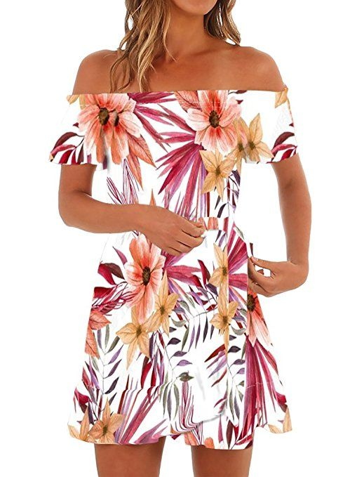 e7278a719aa Yobecho Women Summer Off Shoulder Strapless Floral Print Pleated Dresses   flower  print dresses women   Chic Fashion for Women    floraldress  summerdress ...