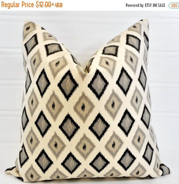 SALE Onyx Grey & Natural  Pillow cover. Carnival  Decorative
