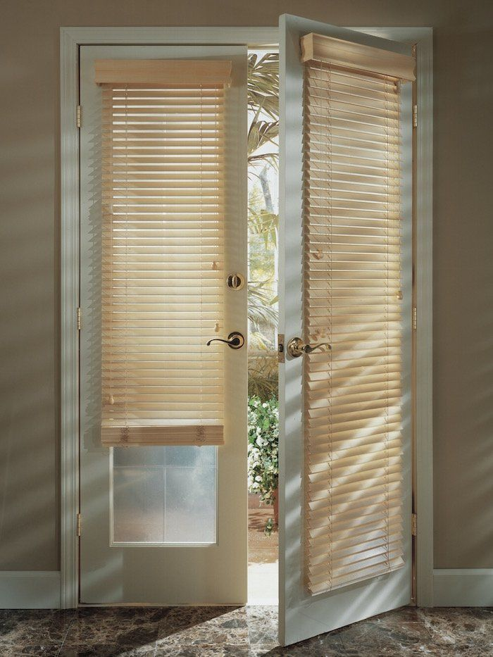 Parkland classic wood blinds on a French Door, for sale by Classic Blinds & Shutters Design Center in {PrimaryCity, GA