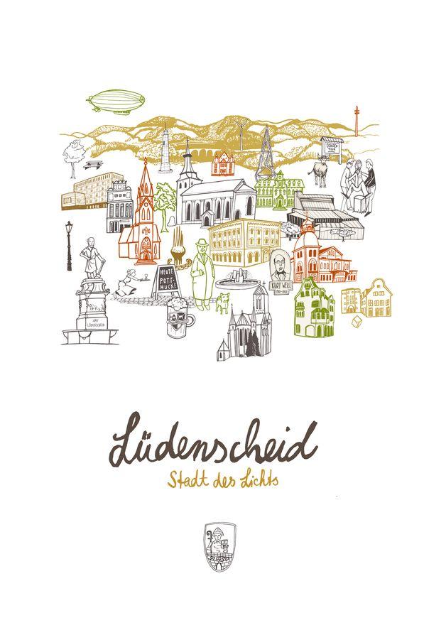 Digitaldruck - Lüdenscheid Poster - ein Designerstück von Diana_Koehne bei DaWanda