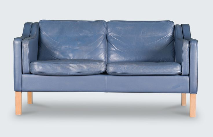 Beautiful Stouby style 2-seater sofa in the quintessential Danish style of the 1960s. Featuring a stunning grey/blue leather and light beech legs. Just lovely!
