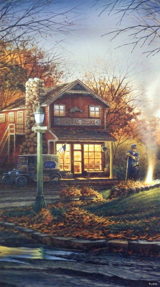Old Country Store and burning leaves make this the perfect fall scene Open Edition Image Size 11.5 x 20.25