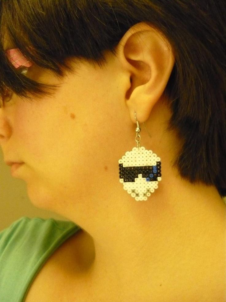 Stig earrings, made with mini perler/Hama beads. ^_^